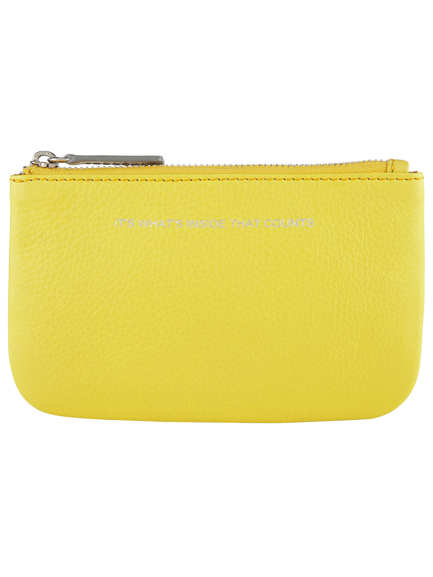BuyCollection WEEKEND by John Lewis Hayley 'It's What's Inside That Counts' Slogan Leather Coin Purse, Yellow Online at johnlewis.com