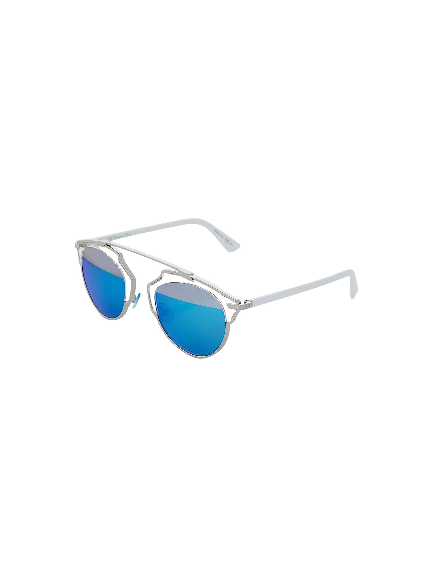 Buy Dior Diorsoreal Round Sunglasses, Silver/Lagoon Blue Online at johnlewis.com