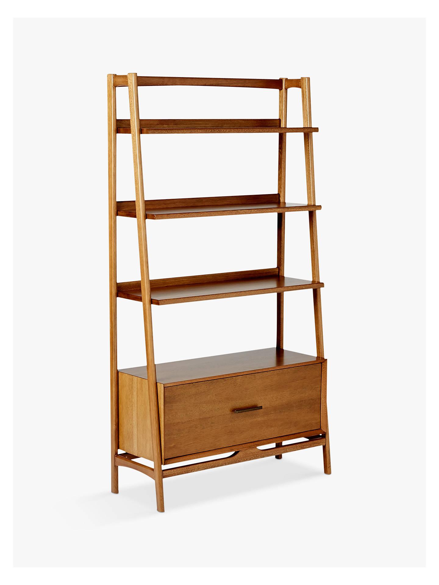 West Elm Mid Century Wide Bookshelf Acorn