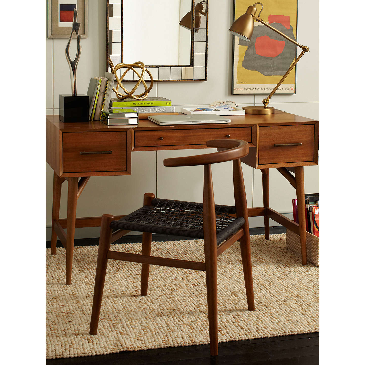 West Elm Mid Century Desk Acorn At Johnlewis Com