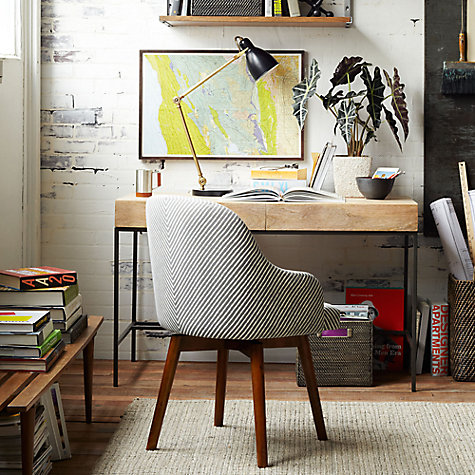 West Elm Saddle Office Chair Painted Stripe Gravel Online At Johnlewis