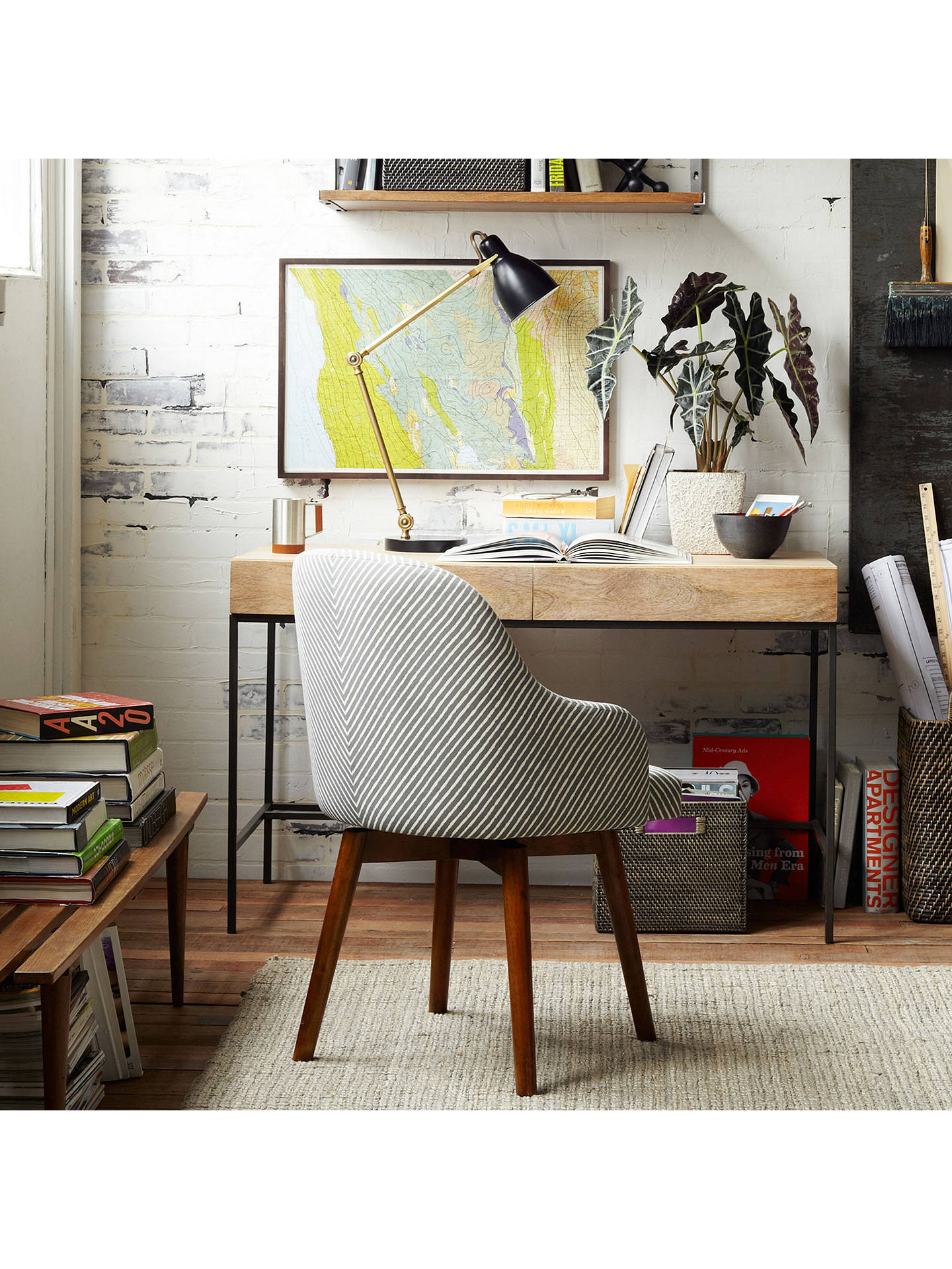 Incredible West Elm Saddle Office Chair Painted Stripe Gravel At John Machost Co Dining Chair Design Ideas Machostcouk