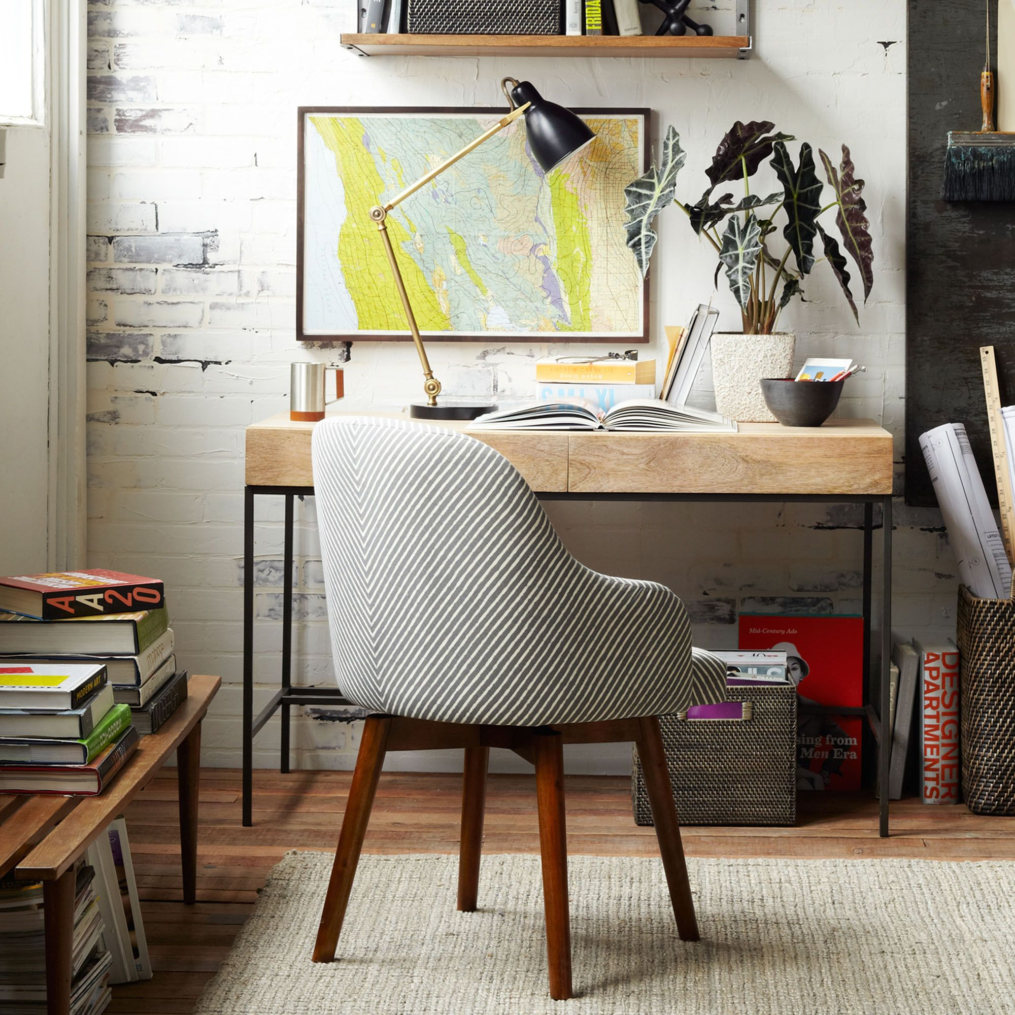Image of: West Elm Saddle Office Chair Painted Stripe Gravel At John Lewis Partners