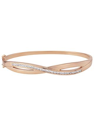 A B Davis Cross Over Cubic Zirconia Bangle, Rose Gold