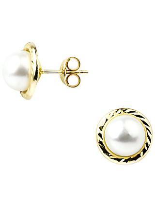 A B Davis 9ct Yellow Gold Freshwater Pearl Border Stud Earrings