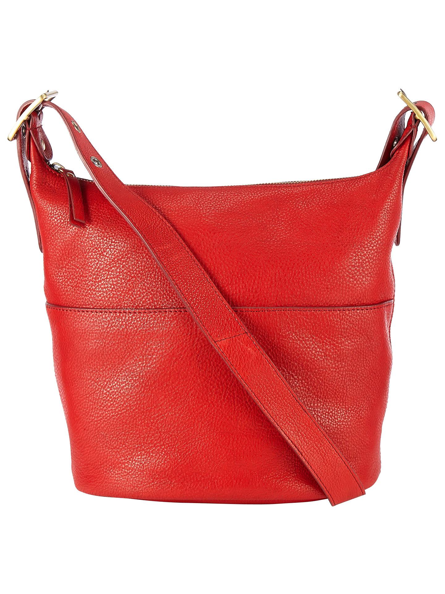 John Lewis Kepley Leather Shoulder Bag Red Online At Johnlewis