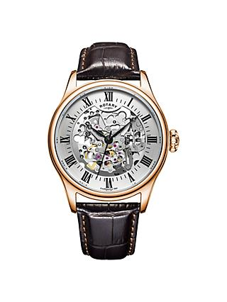 Rotary GS02942/01 Men's Skeleton Leather Strap Watch, Brown/White