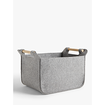 House by John Lewis Grey Felt Storage Basket with Ash Handles