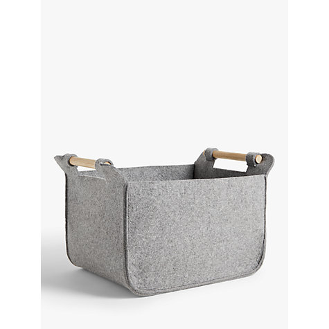 Buy John Lewis Grey Felt Storage Basket with Ash Handles Online at johnlewis.com