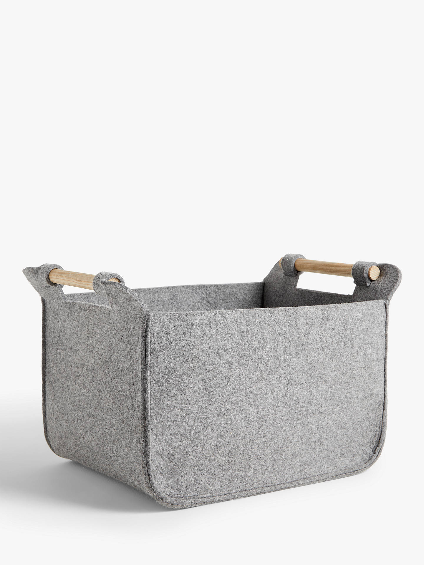 Buy House by John Lewis Felt Storage Basket with Ash Handles, Grey Online at johnlewis.com