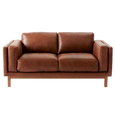 west elm Dekalb Aniline Leather Love Seat, Molasses