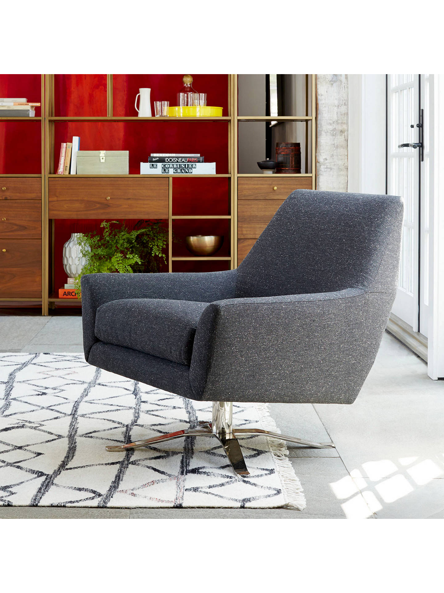 Wondrous West Elm Lucas Swivel Base Chair Asphalt At John Lewis Machost Co Dining Chair Design Ideas Machostcouk