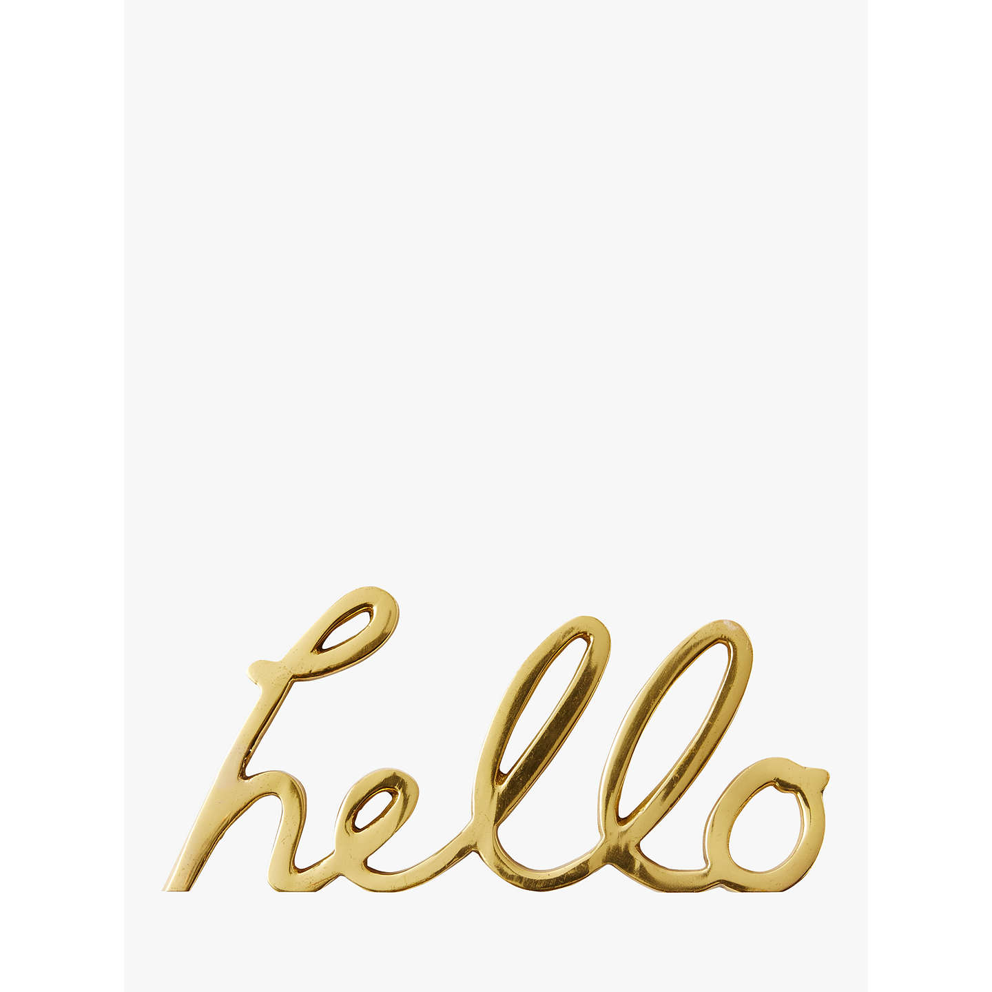 Buywest elm Brass Hello Object Online at johnlewis.com
