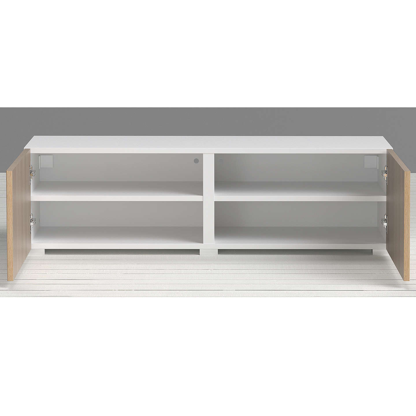 BuyHouse by John Lewis Match Low wide Shelf Unit White & Oak Doors Online at johnlewis.com