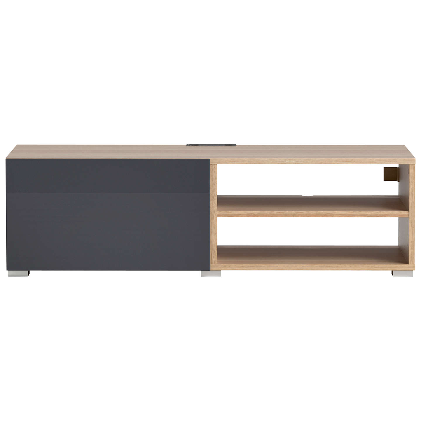 BuyHouse by John Lewis Mix it Media Unit - Oak frame / Gloss steel door Online at johnlewis.com