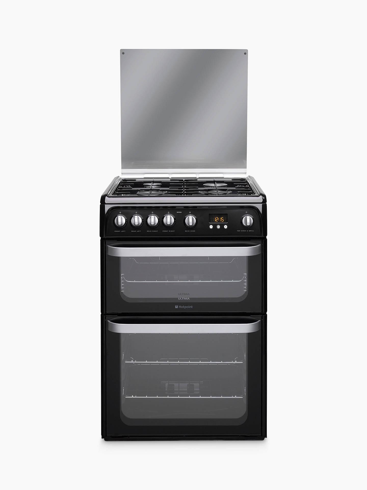 hotpoint hug61k gas cooker black at john lewis partners. Black Bedroom Furniture Sets. Home Design Ideas