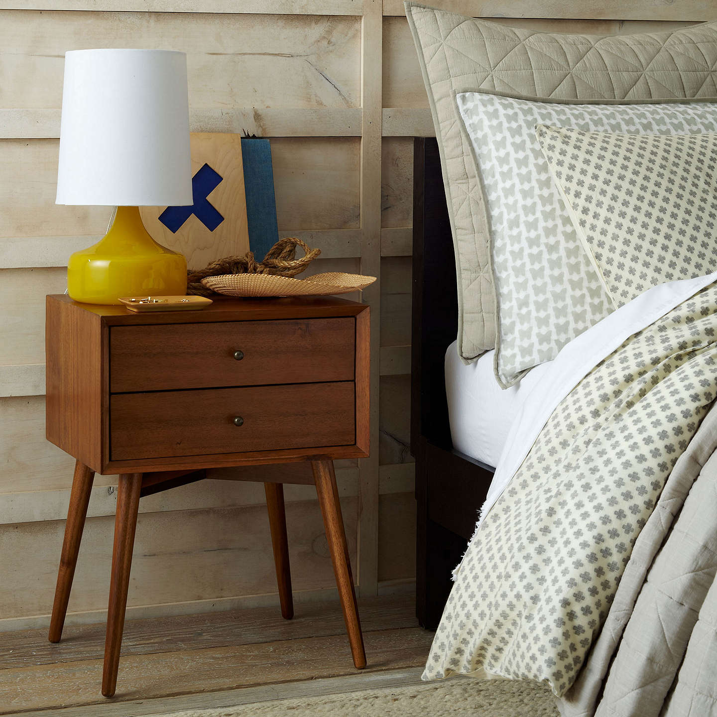 Buywest elm Mid-Century Bedside Table, Acorn Online at johnlewis.com