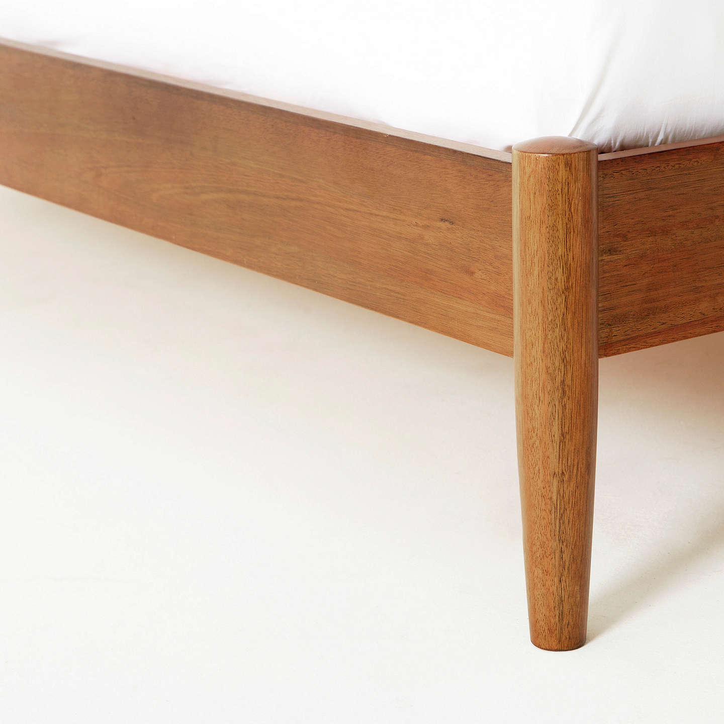 Buywest elm Mid-Century Bed Frame, Double, Acorn Online at johnlewis.com