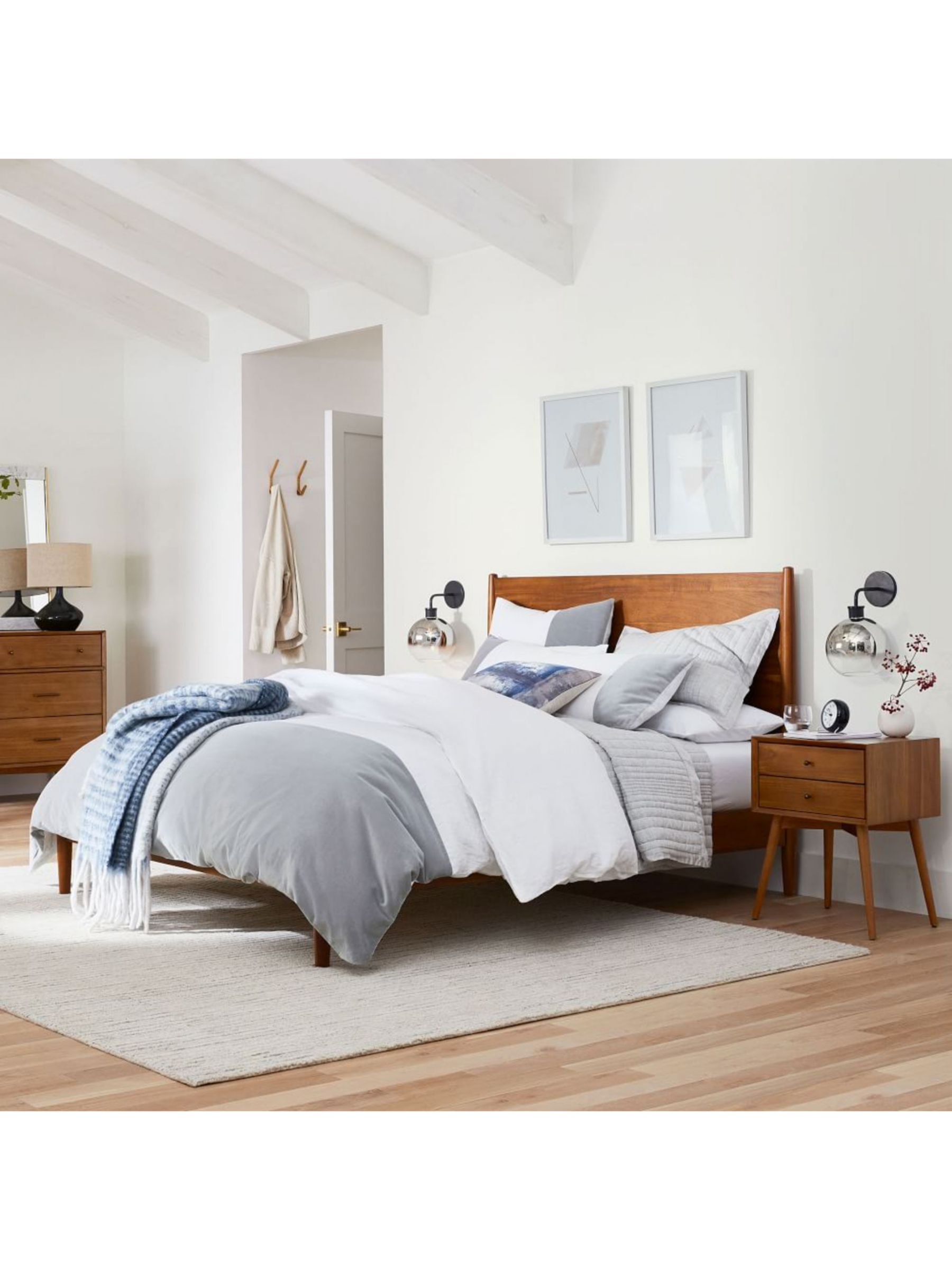 West Elm Mid Century Bed Frame Double Fsc Certified Eucalyptus At John Lewis Partners