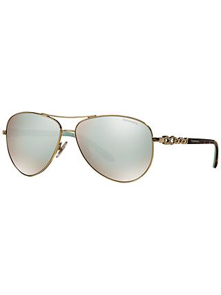 Tiffany & Co TF3049B Aviator Sunglasses, Gold/Silver
