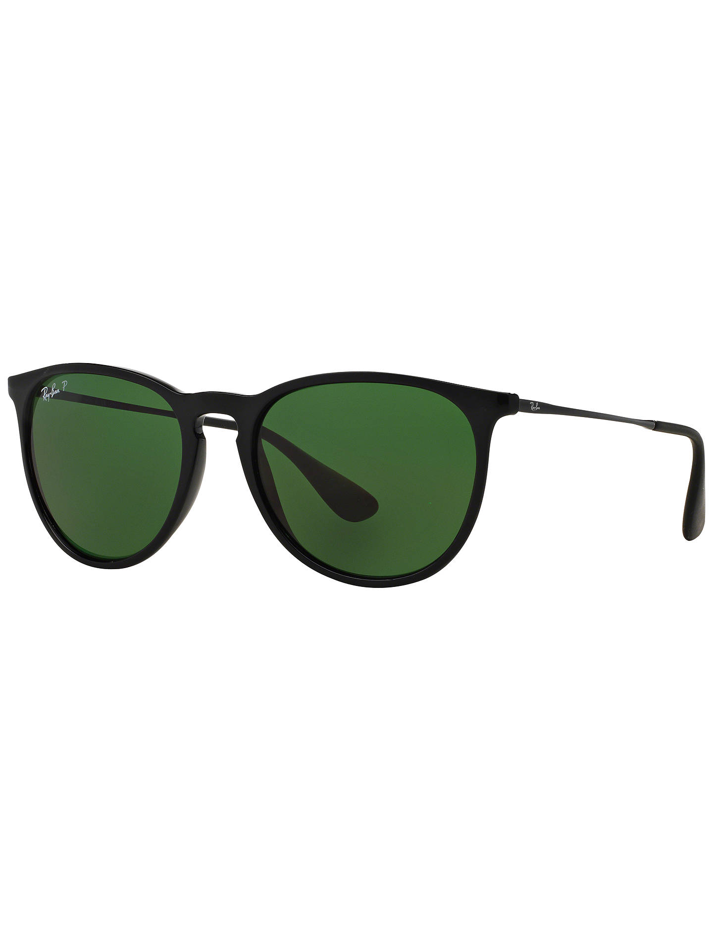 db37ee9f2 Buy Ray-Ban RB4171 Women's Erika Polarised Oval Sunglasses, Black/Green  Online at ...