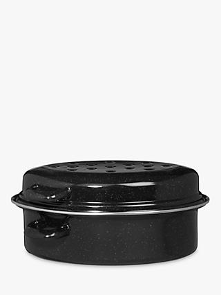 John Lewis & Partners Vitreous Enamel Self-Basting Roaster with Lid