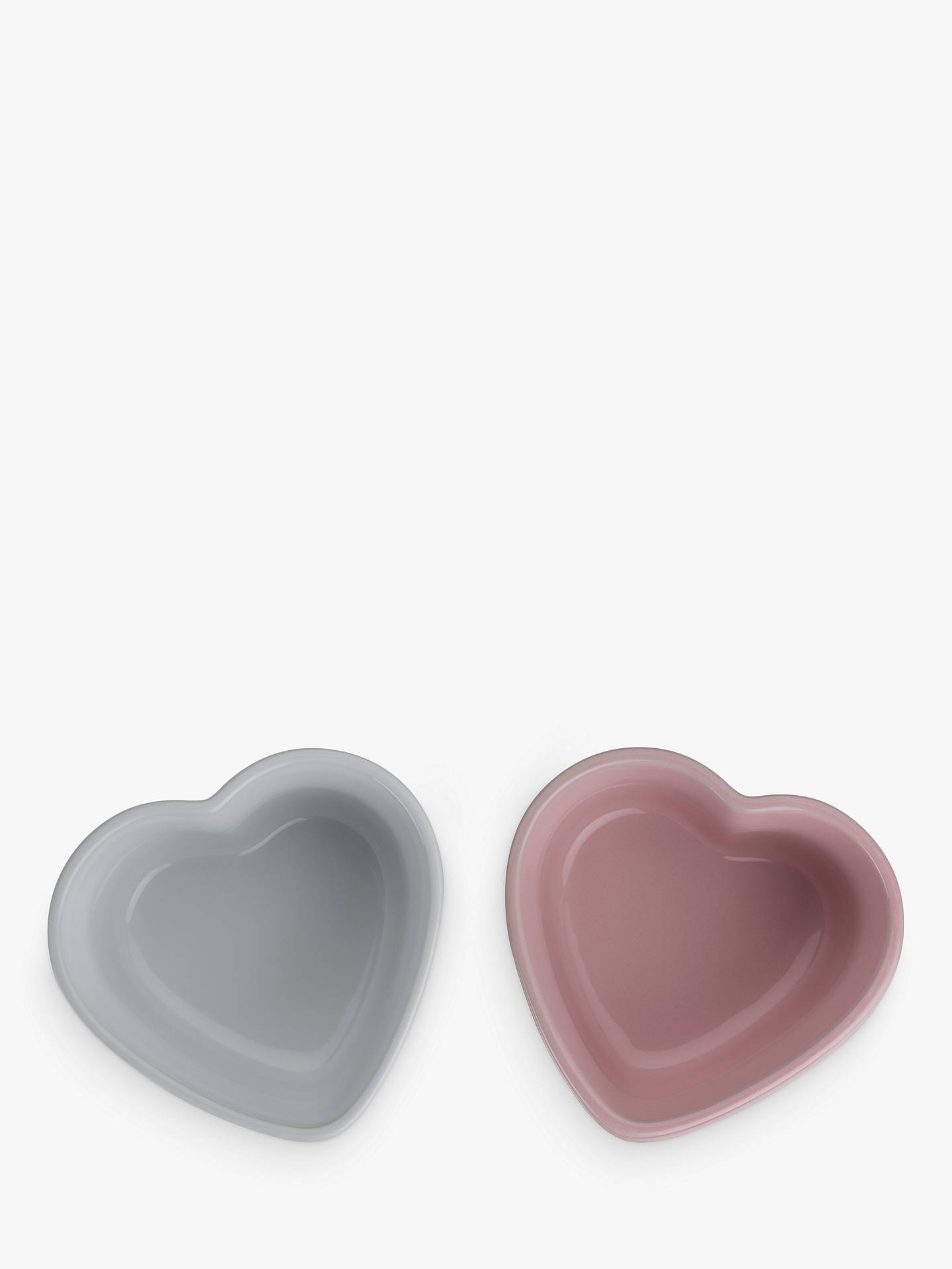 Buy Le Creuset Stoneware Heart Ramekins, Set of 2, Pink/White Online at johnlewis.com