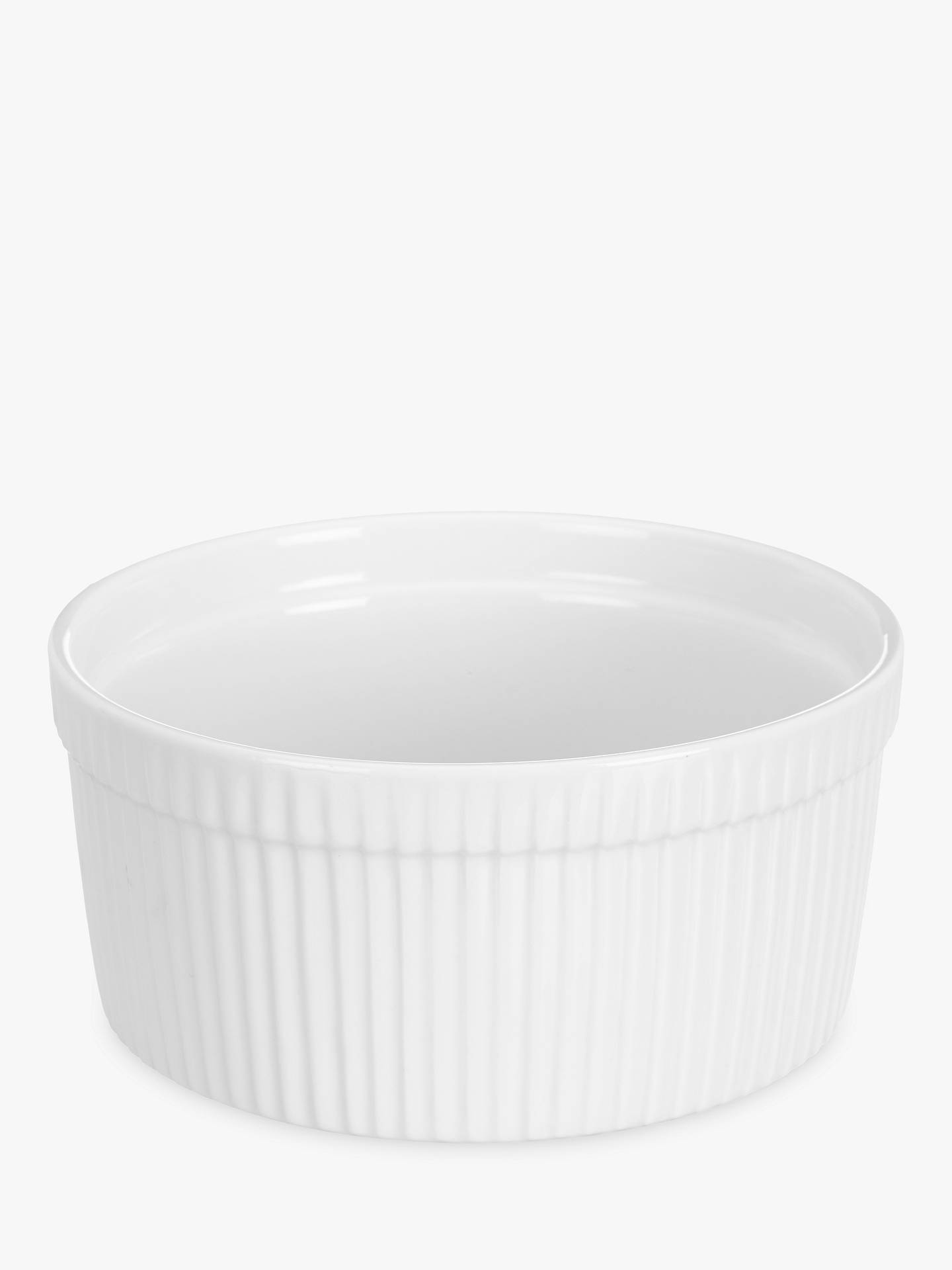 Buy John Lewis & Partners Porcelain Round Soufflé Oven Dish, 17.5cm, Set of 2, White Online at johnlewis.com