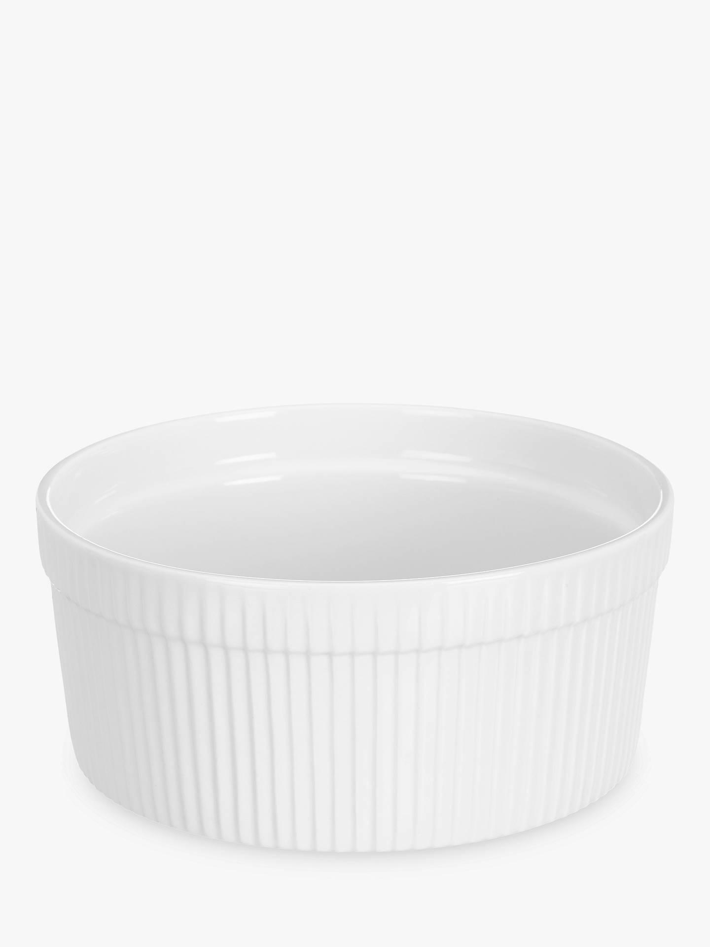 Buy John Lewis & Partners Porcelain Round Soufflé Oven Dish, 19cm, Set of 2, White Online at johnlewis.com