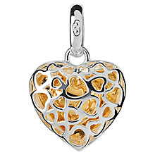 Buy Links of London Cage Heart Bi-Metal Charm, Silver/Gold Online at johnlewis.com