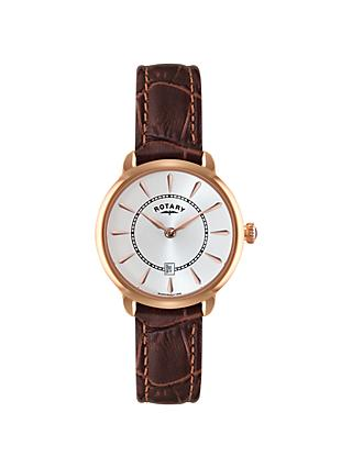 Rotary LS02919/03 Women's Elise Leather Strap Watch, Brown/White