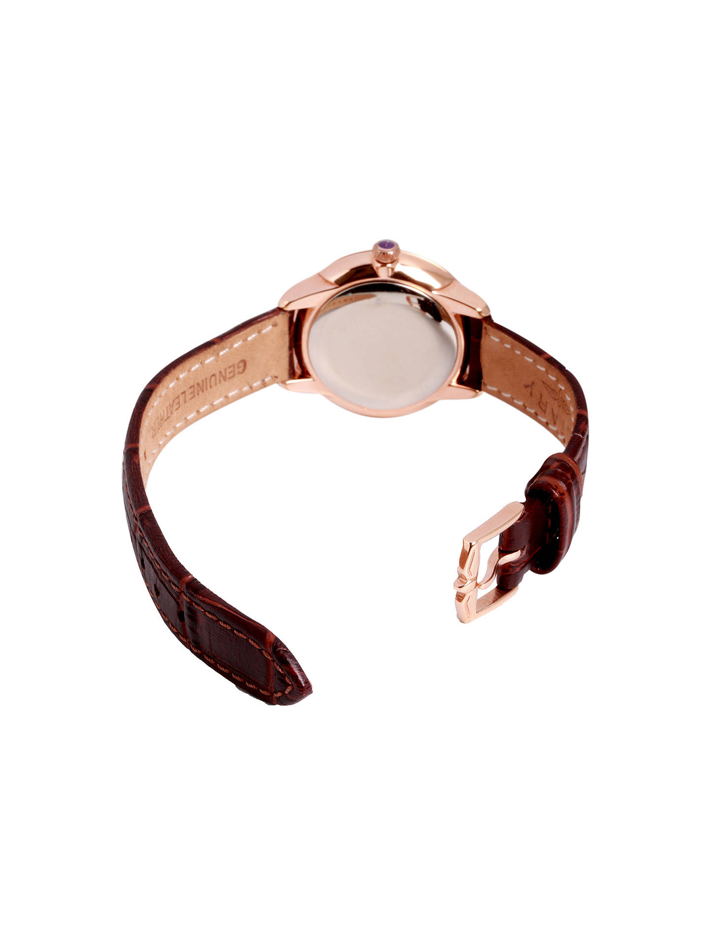 BuyRotary LS02919/03 Women's Elise Leather Strap Watch, Brown/White Online at johnlewis.com
