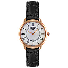 Buy Rotary LS02919/41 Women's Elise Leather Strap Watch, Black/White Online at johnlewis.com