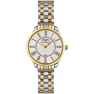 Rotary LB02916/06 Women's Elise Two Tone Bracelet Strap Watch, Silver/Gold