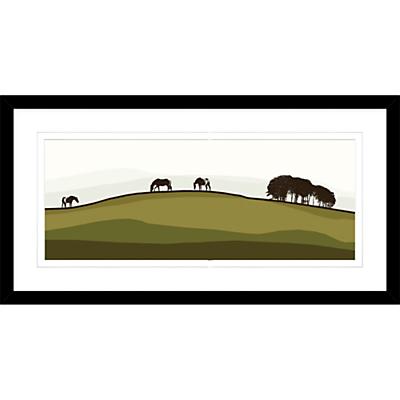Jacky Al-Samarraie – Horses On A Hill, Framed Print, 44 x 84cm