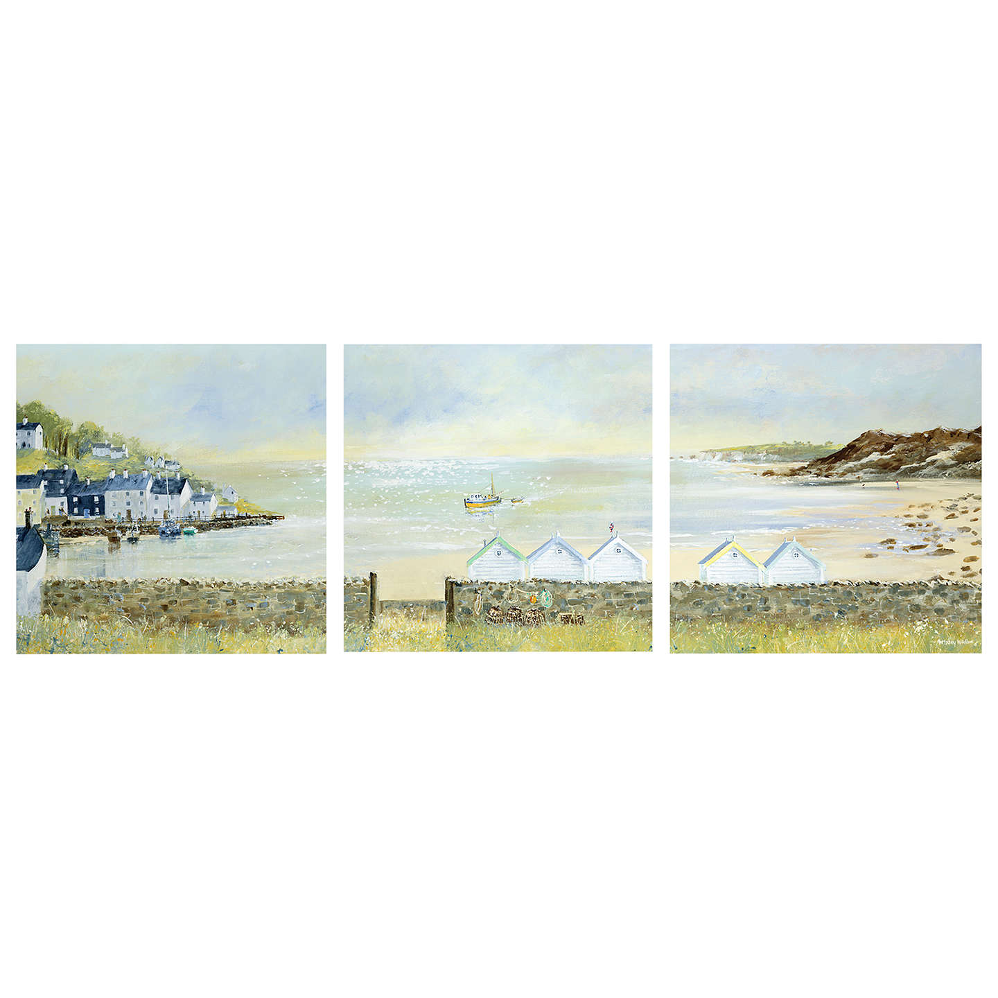 BuyAnthony Waller - Beach Hut Parade Triptych, 105 x 35cm Online at johnlewis.com