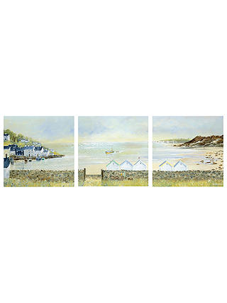 Buy Anthony Waller - Beach Hut Parade Triptych, 105 x 35cm Online at johnlewis.com