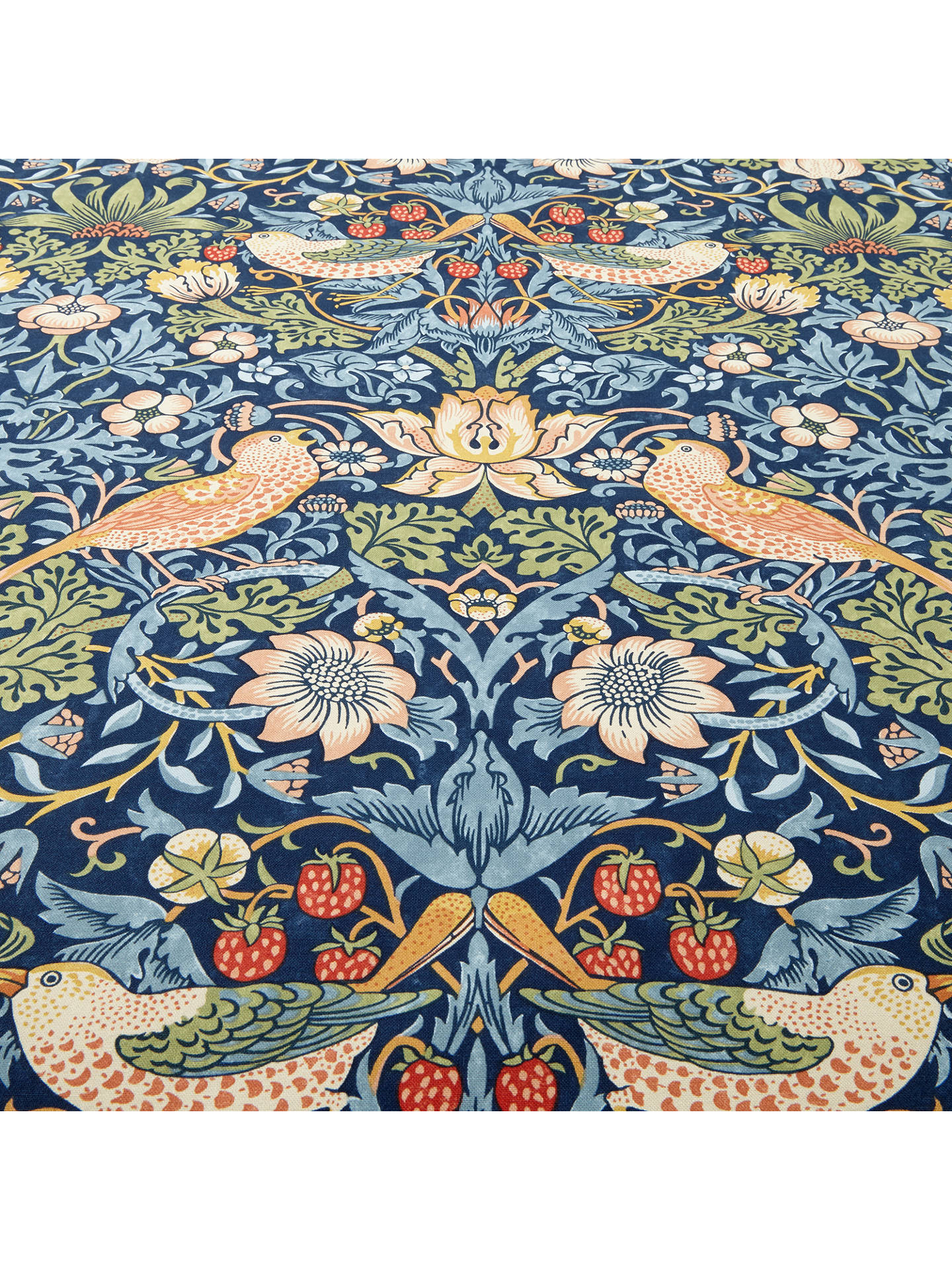 Buy Morris & Co. Strawberry Thief Furnishing Fabric, Indigo Online at johnlewis.com