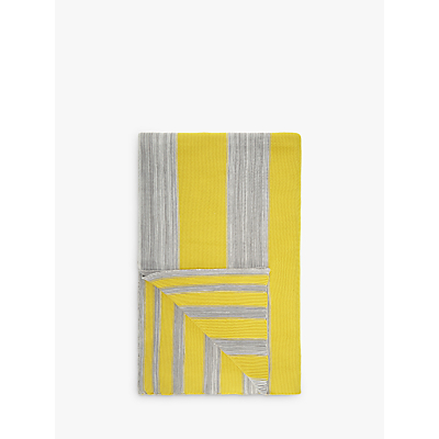 House by John Lewis Stripe Throw, Yellow/Grey