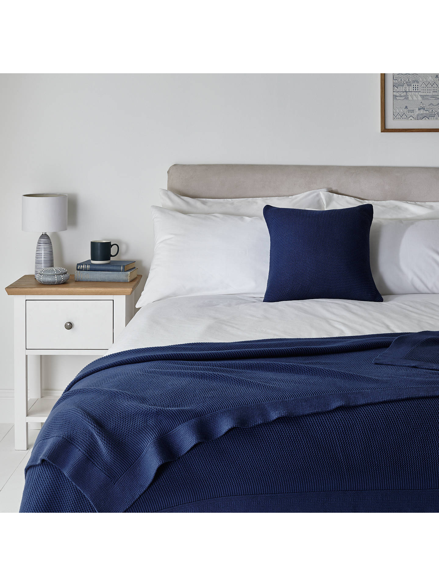 BuyJohn Lewis & Partners Rye Plain Knit Throw, L200 x W150cm, Dark Blue Online at johnlewis.com