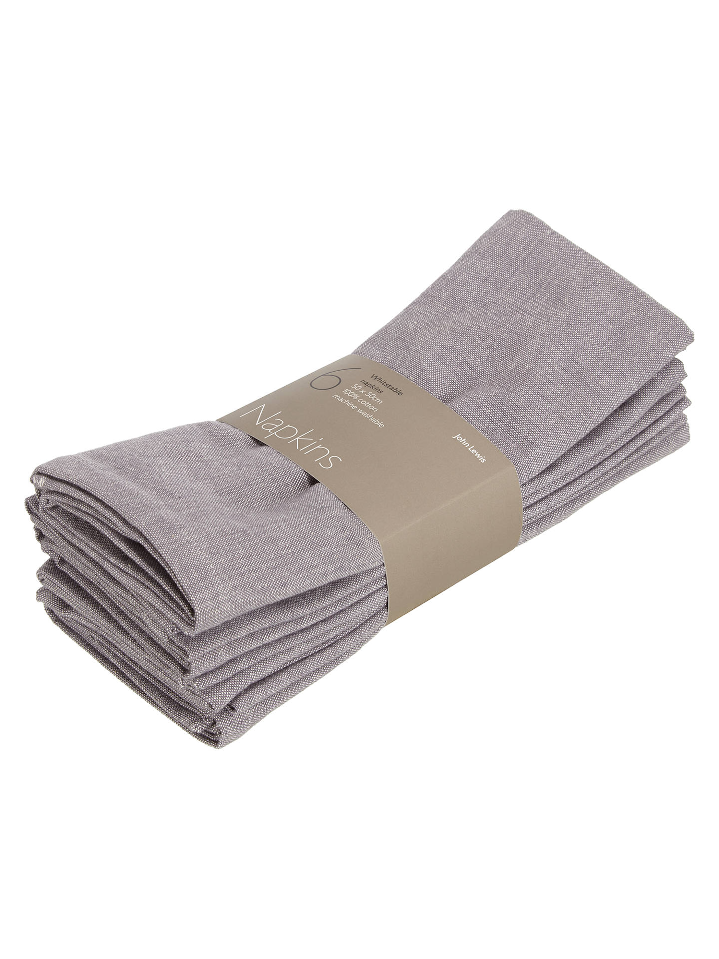 BuyJohn Lewis & Partners Whitstable Napkins, Set of 6, Steel Online at johnlewis.com