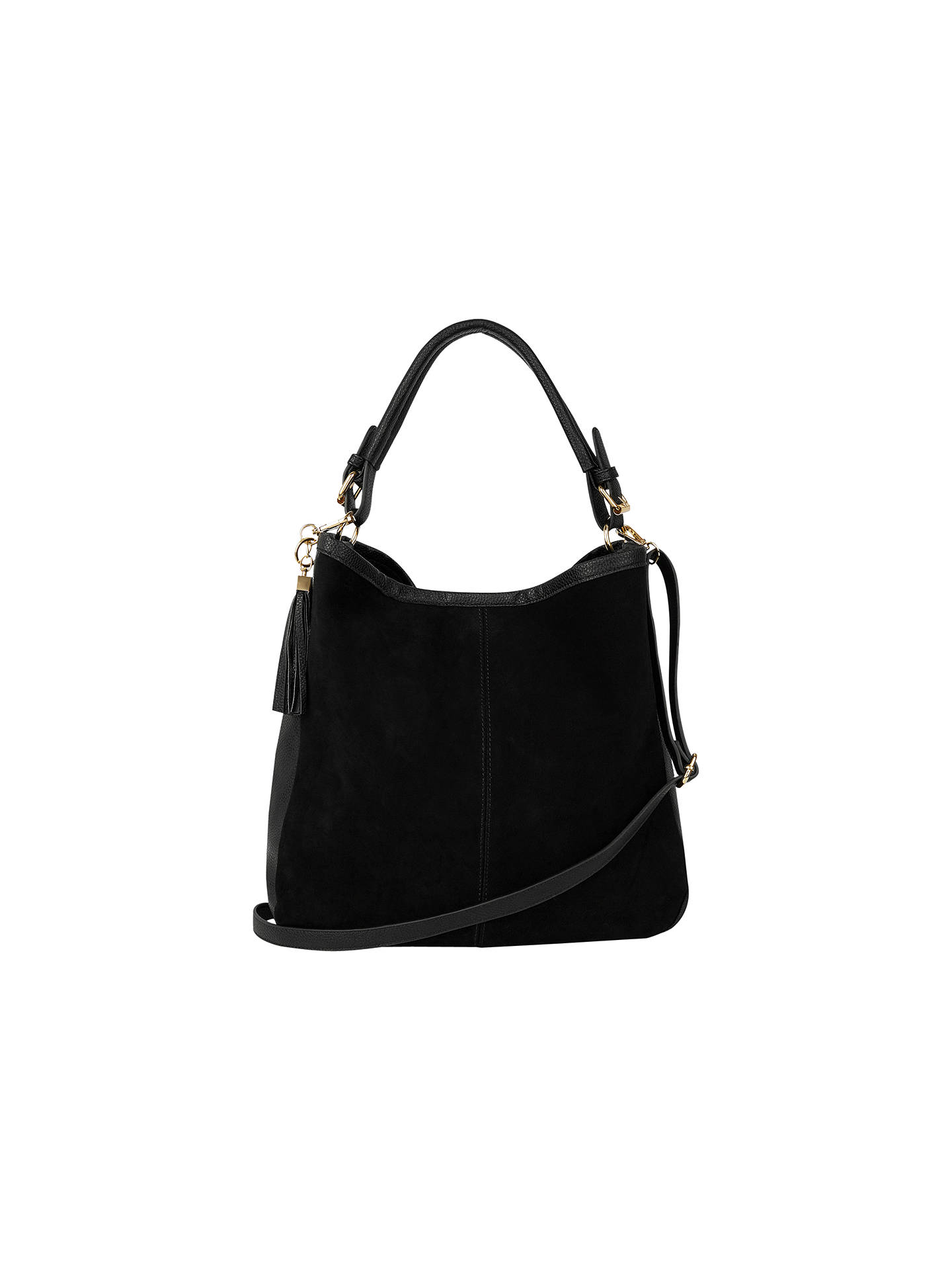Oasis Henne Suede Hobo Handbag Black Online At Johnlewis