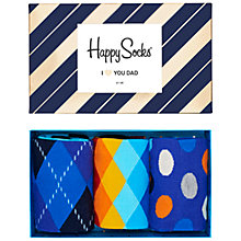 Buy Happy Socks Father's Day Socks, One Size, Pack of 3, Multi Online at johnlewis.com