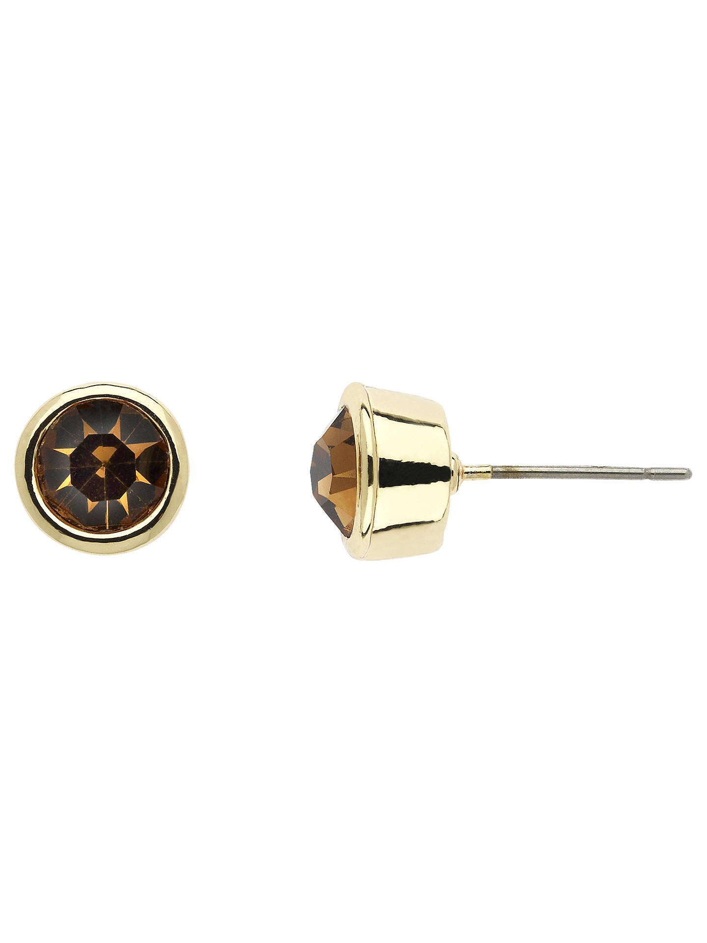 BuyMonet Round Crystal Stud Earrings, Gold Topaz Online at johnlewis.com