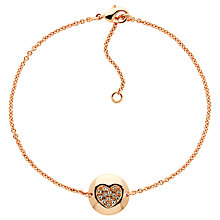 Buy Melissa Odabash Rose Gold Plated Swarovski Crystal Heart Disc Bracelet, Rose Gold Online at johnlewis.com