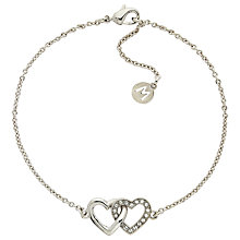 Buy Melissa Odabash Swarovski Crystal Double Heart Bracelet, Silver Online at johnlewis.com