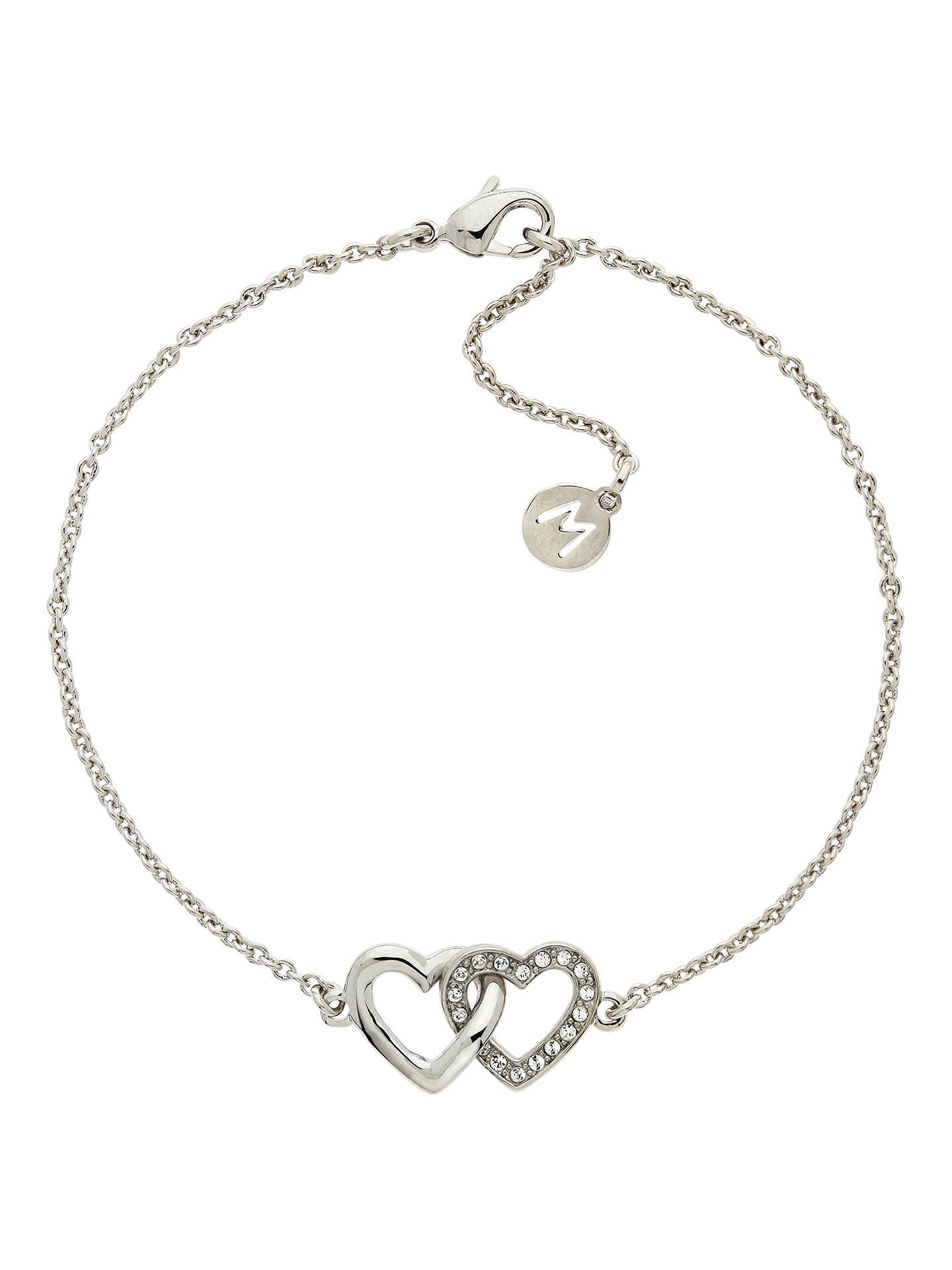 Melissa Odabash Swarovski Crystal Double Heart Bracelet Silver Online At Johnlewis