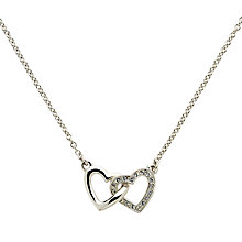 Buy Melissa Odabash Rhodium Plated Swarovski Crystal Double Heart Necklace, Silver Online at johnlewis.com