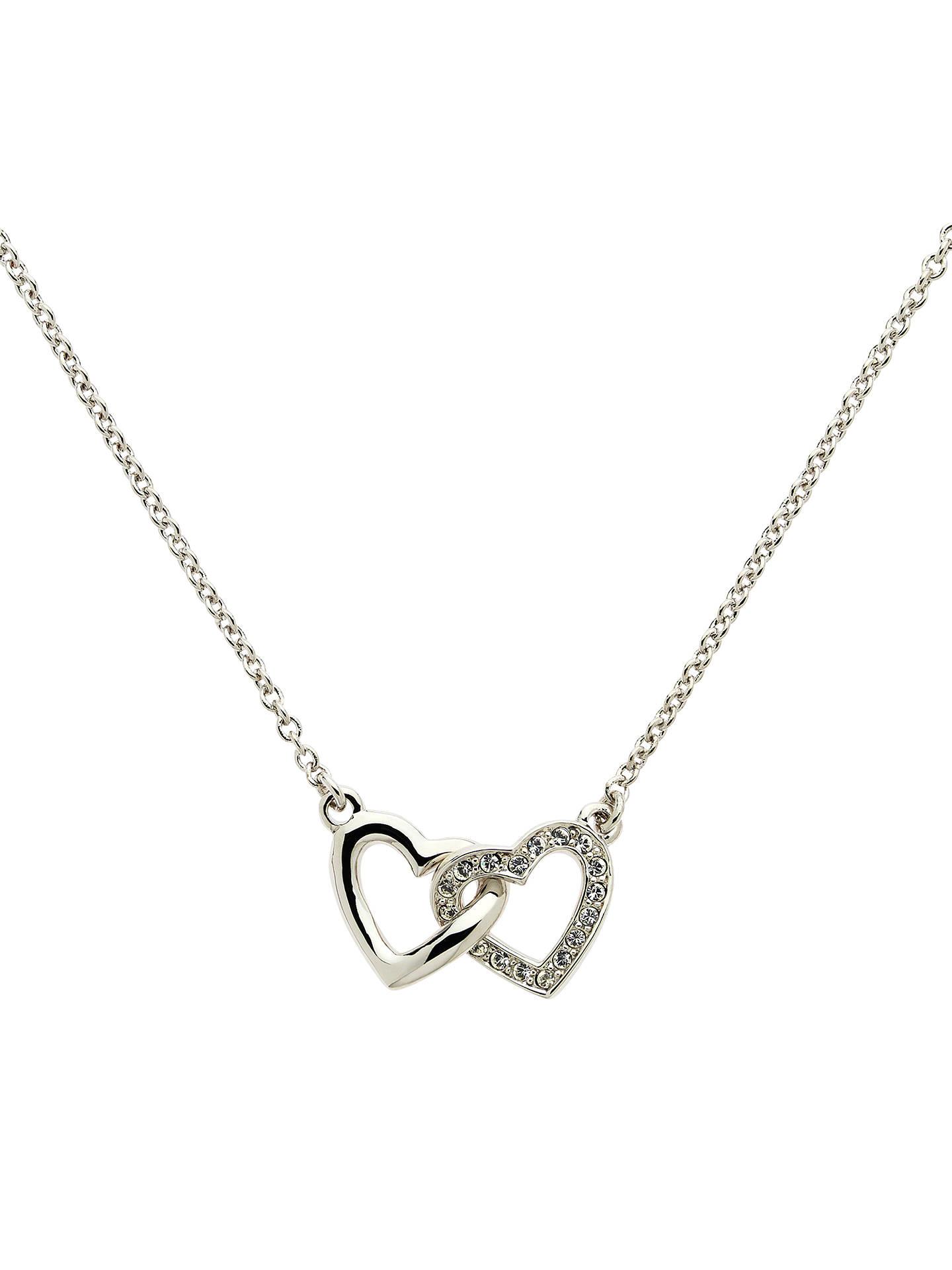 0a046ef65744c Melissa Odabash Rhodium Plated Swarovski Crystal Double Heart Necklace,  Silver