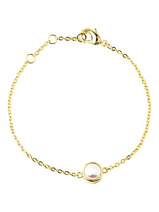 A B Davis Gold Plated Round Edge Pearl Bracelet, Gold